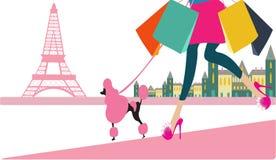 Κορίτσι που πηγαίνει στις αγορές στο Παρίσι ελεύθερη απεικόνιση δικαιώματος