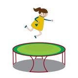 Κορίτσι που πηδά στο τραμπολίνο διανυσματική απεικόνιση