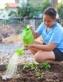 Κορίτσι που ποτίζει τις φυτικές εγκαταστάσεις στο οικογενειακό relaxi τομέων εγχώριων κήπων Στοκ Φωτογραφίες