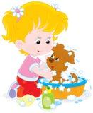 Κορίτσι που πλένει ένα κουτάβι διανυσματική απεικόνιση