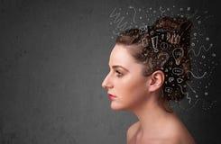 κορίτσι που σκέφτεται με τα αφηρημένα εικονίδια στο κεφάλι της Στοκ Εικόνα