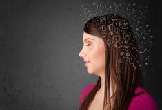κορίτσι που σκέφτεται με τα αφηρημένα εικονίδια στο κεφάλι της Στοκ εικόνα με δικαίωμα ελεύθερης χρήσης