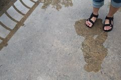Κορίτσι που στέκεται σε μια γέφυρα Δημιουργική φωτογραφία της διάθεσης βροχής Γυναίκα ` s Στοκ Εικόνες