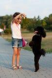 Κορίτσι που ταΐζει μαύρο poodle Στοκ Φωτογραφία