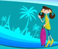Κορίτσι που ταξιδεύει με την τσάντα διανυσματική απεικόνιση