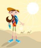 Κορίτσι που ταξιδεύει στην έρημο ελεύθερη απεικόνιση δικαιώματος