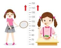 Κορίτσι που τρώει τα τρόφιμα και που παίζει τον αθλητισμό για την υγεία και πιό ψηλός Κορίτσι που μετρά το ύψος της Στοκ εικόνα με δικαίωμα ελεύθερης χρήσης