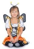 Κορίτσι που φορά ένα κοστούμι πεταλούδων Στοκ εικόνα με δικαίωμα ελεύθερης χρήσης