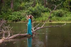 Κορίτσι που φορά το φόρεμα που στέκεται στον ποταμό κοντά στο δάσος Στοκ εικόνες με δικαίωμα ελεύθερης χρήσης