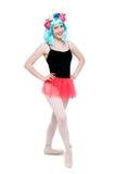 Κορίτσι που χαμογελά στα παπούτσια μπαλέτου Tutu και Leotard Pointy Στοκ εικόνες με δικαίωμα ελεύθερης χρήσης