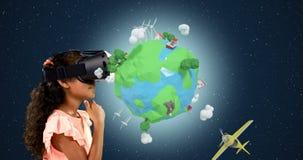 Κορίτσι που χρησιμοποιεί την κάσκα εικονικής πραγματικότητας με τα ψηφιακά παραγμένα εικονίδια ταξιδιού 4k απόθεμα βίντεο