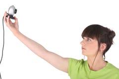 Κορίτσι που χρησιμοποιεί webcam Στοκ φωτογραφία με δικαίωμα ελεύθερης χρήσης