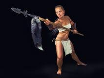 Κορίτσι πολεμιστών αρχαίο με μια λόγχη Στοκ εικόνες με δικαίωμα ελεύθερης χρήσης