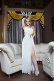 Κορίτσι πολυτέλειας στο φόρεμα βραδιού στις όμορφες τοποθετήσεις Στοκ Φωτογραφίες