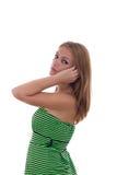 Κορίτσι πράσινο φορεμάτων Στοκ Φωτογραφία