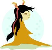 Κορίτσι σαμάνων με τα κέρατα και το δέρμα κόκκαλων ελεύθερη απεικόνιση δικαιώματος