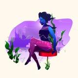 κορίτσι σε έναν πίνακα φραγμών στοκ εικόνες