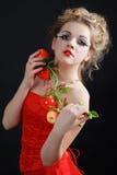 Κορίτσι κόκκινα dres Στοκ Εικόνες