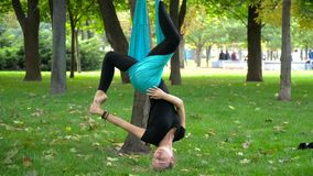 Κορίτσι σε ένα πάρκο που συμμετέχεται στην εναέρια γιόγκα στοκ εικόνα