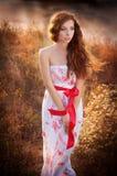 Κορίτσι σε ένα φόρεμα με μακρυμάλλη Στοκ Εικόνες