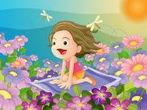 Κορίτσι σε ένα χαλί διανυσματική απεικόνιση