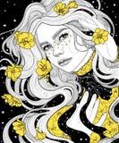 κορίτσι σε μια έναστρη νύχτα αδιάβροχων ακρωτηρίων η τρίχα και το φόρεμά της με το κίτρινο χρυσό λουλούδι στοκ εικόνα