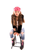 Κορίτσι σε μια έδρα Στοκ εικόνες με δικαίωμα ελεύθερης χρήσης