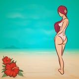 Κορίτσι σε μια παραλία απεικόνιση αποθεμάτων