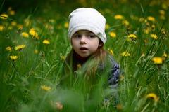 Κορίτσι σε μια πράσινη χλόη Στοκ εικόνα με δικαίωμα ελεύθερης χρήσης