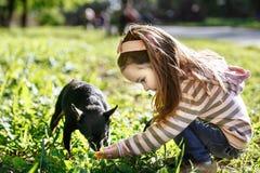 Κορίτσι σε μια ρόδινη ριγωτή μπλούζα και το τζιν παντελόνι που περπατά με το σκυλί Στοκ Εικόνα