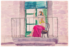 Κορίτσι σε μια ρόδινη φούστα, που καπνίζει στο μπαλκόνι Στοκ Εικόνες