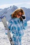 Κορίτσι σκιέρ στοκ φωτογραφίες