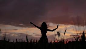 Κορίτσι σκιαγραφιών στο φόρεμα που χορεύει σε μια καλή διάθεση σε έναν τομέα σίτου το βράδυ φιλμ μικρού μήκους