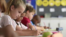 Κορίτσι σπουδαστών που γράφει στο εγχειρίδιο απόθεμα βίντεο
