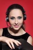 Κορίτσι στα ακουστικά Στοκ Εικόνες