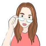 Κορίτσι στα γυαλιά επίσης corel σύρετε το διάνυσμα απεικόνισης ελεύθερη απεικόνιση δικαιώματος