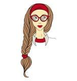 Κορίτσι στα γυαλιά και με το μακροχρόνιο διάνυσμα πλεξουδών Στοκ Εικόνα