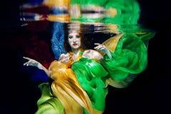 κορίτσι στα ζωηρόχρωμα ενδύματα υποβρύχια Στοκ Εικόνα