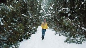 Κορίτσι στα κίτρινα τρεξίματα σακακιών γύρω από ένα χειμερινό δάσος που καλύπτεται με το χιόνι φιλμ μικρού μήκους