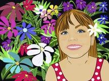 Κορίτσι στα λουλούδια ελεύθερη απεικόνιση δικαιώματος
