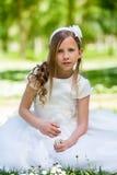 Κορίτσι στα λουλούδια εκμετάλλευσης φορεμάτων κοινωνίας. Στοκ Εικόνες