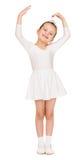Κορίτσι στην άσπρη εσθήτα σφαιρών Στοκ Φωτογραφία