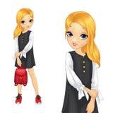 Κορίτσι στην άσπρη μπλούζα και το μαύρο φόρεμα ελεύθερη απεικόνιση δικαιώματος