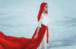 Κορίτσι στην οδηγώντας κουκούλα Little Red κοστουμιών Στοκ φωτογραφία με δικαίωμα ελεύθερης χρήσης