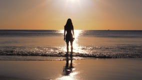 Κορίτσι στην παραλία στην παραμονή ηλιοβασιλέματος μόνο φιλμ μικρού μήκους
