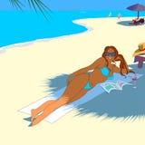 Κορίτσι στην τροπική παραλία Στοκ Εικόνες