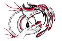 Κορίτσι στη μάσκα στο μαύρο και κόκκινο χρώμα με ένα δάκρυ Στοκ Εικόνες