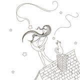 Κορίτσι στη στέγη Στοκ Εικόνα