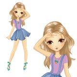 Κορίτσι στη φούστα σχολικού τζιν διανυσματική απεικόνιση