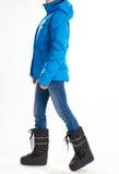 Κορίτσι στις θερμές κάτω μπότες σακακιών και φεγγαριών Στοκ εικόνες με δικαίωμα ελεύθερης χρήσης